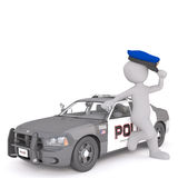 Cartoon Police Officer Leaning Against Cruiser Stock Image