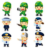 Cartoon police and soldier  icon Royalty Free Stock Photo