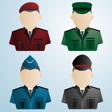 Cartoon police soldier military. uniforms Royalty Free Stock Image