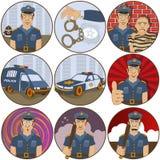 Cartoon police stickers Royalty Free Stock Photos