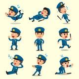 Cartoon policeman character poses Stock Photos