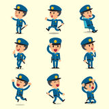 Cartoon policeman character poses on yellow background Stock Images