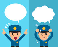 Cartoon policeman expressing different emotions with speech bubbles. For design Stock Photography