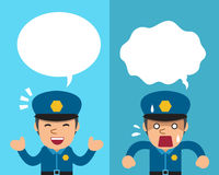 Cartoon policeman expressing different emotions with speech bubbles. For design Stock Photos