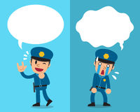 Cartoon policeman expressing different emotions with speech bubbles. For design Royalty Free Stock Photo