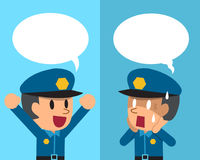 Cartoon a policeman expressing different emotions with speech bubbles. For design Stock Photos