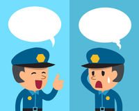Cartoon policeman expressing different emotions with speech bubbles. For design Royalty Free Stock Photography