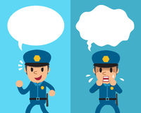 Cartoon policeman expressing different emotions with white speech bubbles. For design Royalty Free Stock Image