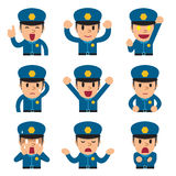 Cartoon policeman faces showing different emotions Stock Image