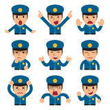 Cartoon policeman faces showing different emotions. For design Stock Image
