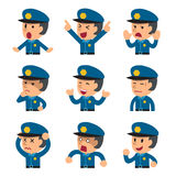 Cartoon a policeman faces showing different emotions. For design Royalty Free Stock Photo