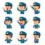 Cartoon policeman faces showing different emotions. For design Royalty Free Stock Image