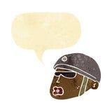 cartoon policeman head with speech bubble Royalty Free Stock Photography