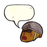 cartoon policeman head with speech bubble Stock Photo