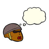 cartoon policeman head with thought bubble Royalty Free Stock Images