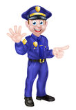 Cartoon Policeman Pointing Stock Photo