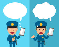 Cartoon policeman with smartphone expressing different emotions with speech bubbles Stock Image