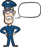Cartoon policeman with speech bubble Stock Photography