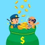 Cartoon policeman and thief with big money bag Stock Photo