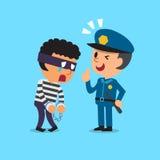 Cartoon policeman and thief Stock Image