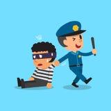 Cartoon policeman and thief Stock Photography