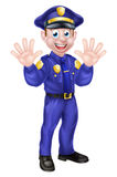 Cartoon Policeman Waving Royalty Free Stock Images