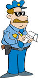Cartoon policeman writing a ticket. Royalty Free Stock Image