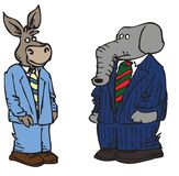 Cartoon political characters. Cartoons of a democrat donkey and republican elephant Royalty Free Stock Photos
