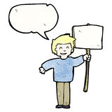 Cartoon political protestor with sign Royalty Free Stock Image