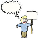 Cartoon political protestor with sign Stock Image
