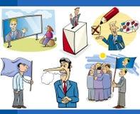 Cartoon politics concepts set. Illustration Set of Humorous Cartoon Concepts or and Metaphors of Politics and Democracy vector illustration