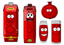 Cartoon pomegranate juice containers and fruit Royalty Free Stock Images