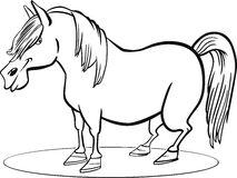 Cartoon pony horse coloring page Royalty Free Stock Images