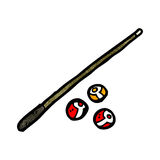 cartoon pool cue and balls Royalty Free Stock Photo
