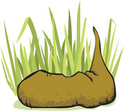 Cartoon Poop In The Grass Stock Image