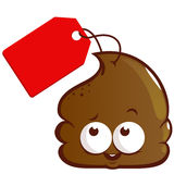 Cartoon poop with price tag Royalty Free Stock Photography