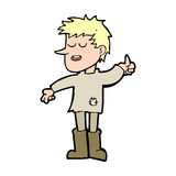 Cartoon poor boy with positive attitude Royalty Free Stock Image