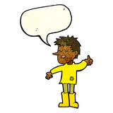 Cartoon poor boy with positive attitude with speech bubble Royalty Free Stock Photo