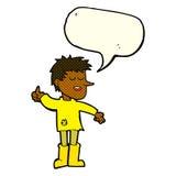 Cartoon poor boy with positive attitude with speech bubble Stock Photos
