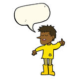 Cartoon poor boy with positive attitude with speech bubble Royalty Free Stock Image