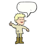 Cartoon poor boy with positive attitude with speech bubble Stock Photo