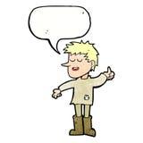 Cartoon poor boy with positive attitude with speech bubble Royalty Free Stock Photos