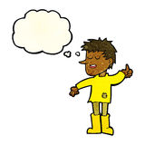 Cartoon poor boy with positive attitude with thought bubble Royalty Free Stock Image