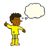 Cartoon poor boy with positive attitude with thought bubble Royalty Free Stock Photos
