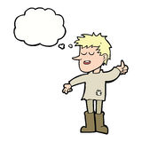 Cartoon poor boy with positive attitude with thought bubble Royalty Free Stock Photo