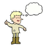 Cartoon poor boy with positive attitude with thought bubble Stock Images