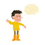 Cartoon poor boy with positive attitude with thought bubble Stock Photography