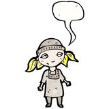 Cartoon poor orphan girl with speech bubble. Retro cartoon with texture. Isolated on White Royalty Free Stock Image