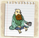 Cartoon poor on paper note, vector illustration Royalty Free Stock Image