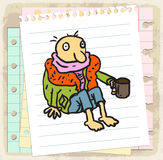Cartoon poor on paper note, vector illustration Royalty Free Stock Photos